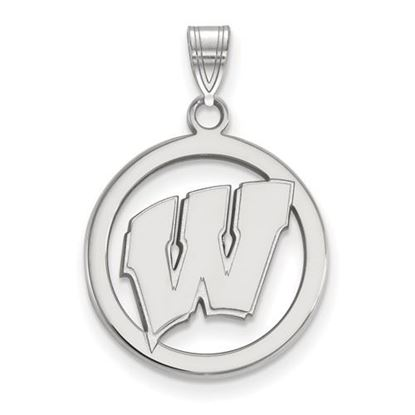 Picture of University of Wisconsin Badgers Sterling Silver Small Circle Pendant