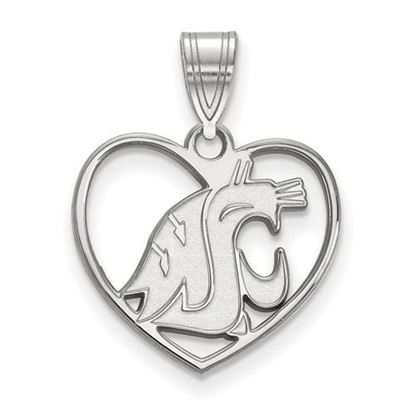 Picture of Washington State University Cougars Sterling Silver Heart Pendant