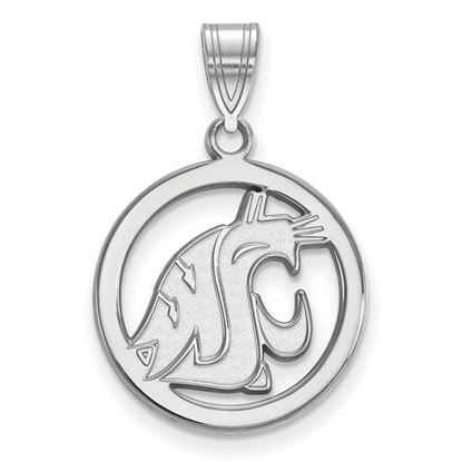 Picture of Washington State University Cougars Sterling Silver Small Circle Pendant