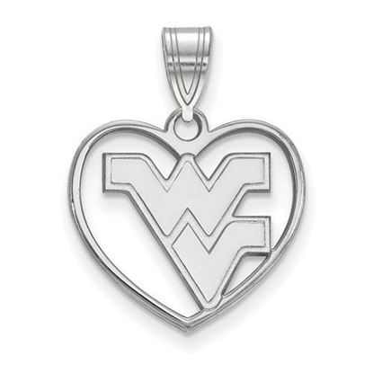 Picture of West Virginia University Mountaineers Sterling Silver Heart Pendant