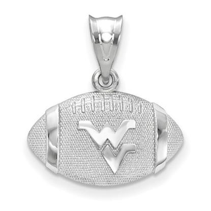 Picture of West Virginia University Mountaineers Sterling Silver WV Football Pendant