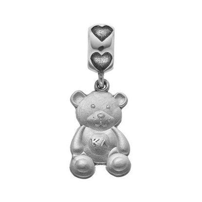 Picture of Kappa Delta Sorority Sterling Silver Teddy Bear Charm On Heart Bead