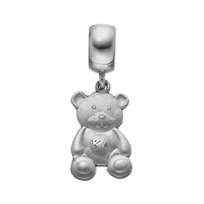 Picture of Kappa Delta Sorority Sterling Silver Teddy Bear Charm On Plain Bead