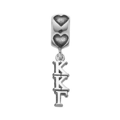 Picture of Kappa Kappa Gamma Sorority Sterling Silver Vertical Letters On Heart Bead