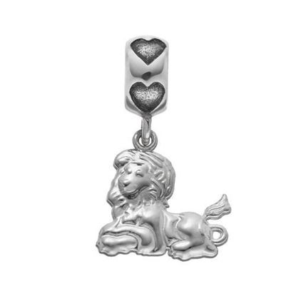 Picture of Phi Mu Sorority Sterling Silver Lion Charm Heart Bead