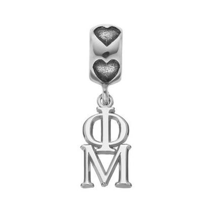 Picture of Phi Mu Sorority Sterling Silver Vertical Letters On Heart Bead