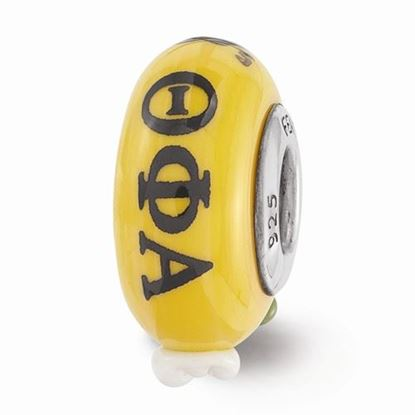 Picture of Theta Phi Alpha Sorority Sterling Silver Hand Painted Fenton Glass Bead