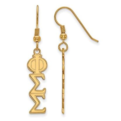 Picture of Phi Sigma Sigma Sorority Sterling Silver Gold Plated Dangle Medium Earrings
