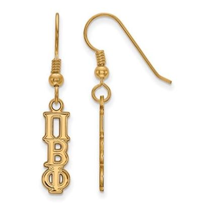 Picture of Pi Beta Phi Sorority Sterling Silver Gold Plated Dangle Earrings