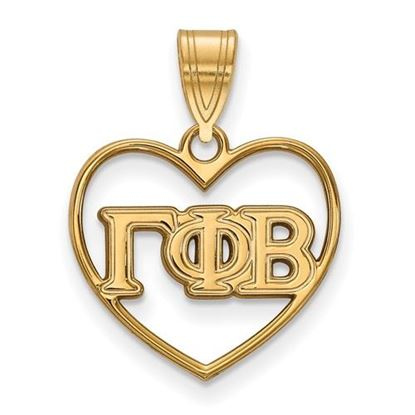 Picture of Gamma Phi Beta Sorority Sterling Silver Gold Plated Heart Pendant