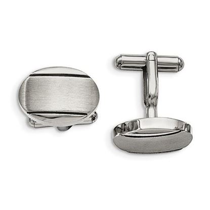 Picture of Stainless Steel Polished Brushed and Enameled Grooved Oval Cufflinks