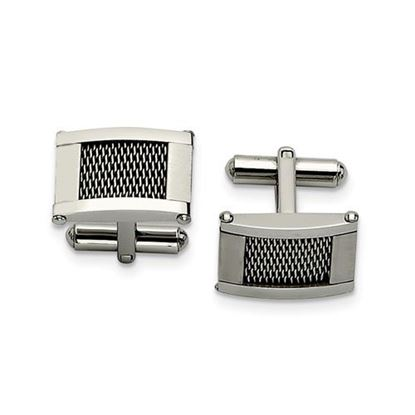 Picture of Stainless Steel Wire Brushed and Polished Cufflinks