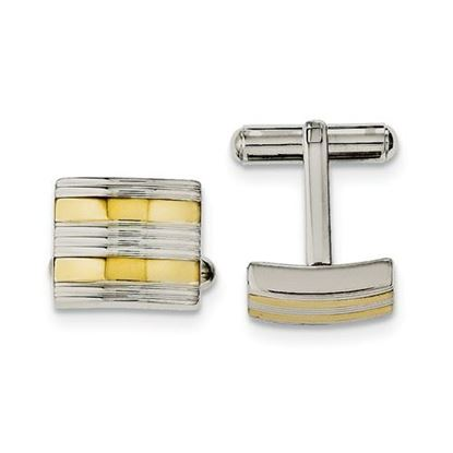 Picture of Stainless Steel Yellow IP-plated Polished Cufflinks