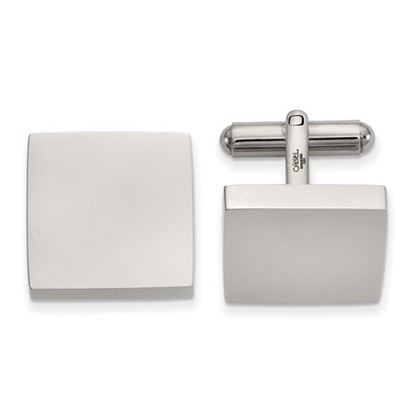 Picture of Stainless Steel Polished Classic Square Cufflinks