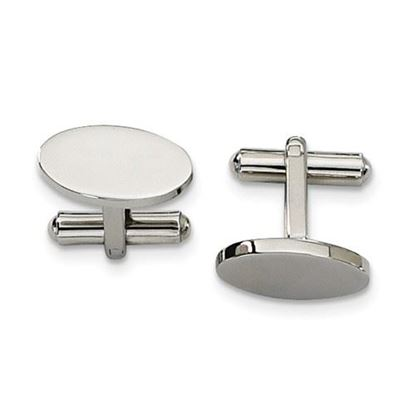 Picture of Stainless Steel Polished Oval Cufflinks