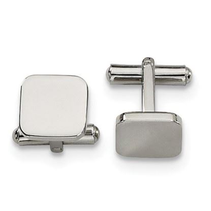 Picture of Stainless Steel Polished Rounded Square Cufflinks