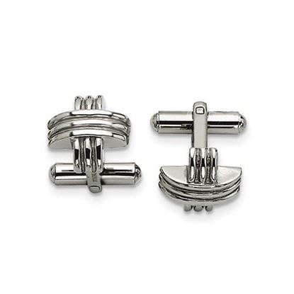 Picture of Stainless Steel Polished Fancy X Cufflinks