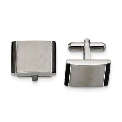 Picture of Stainless Steel Black Acrylic Cufflinks
