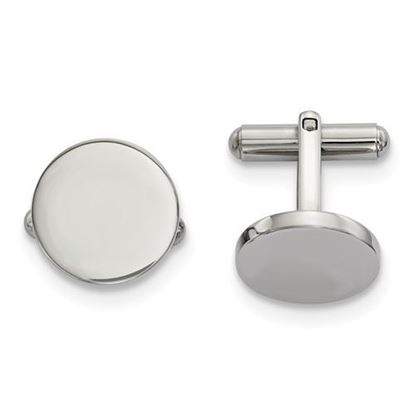 Picture of Stainless Steel Polished Classic Circle Cufflinks