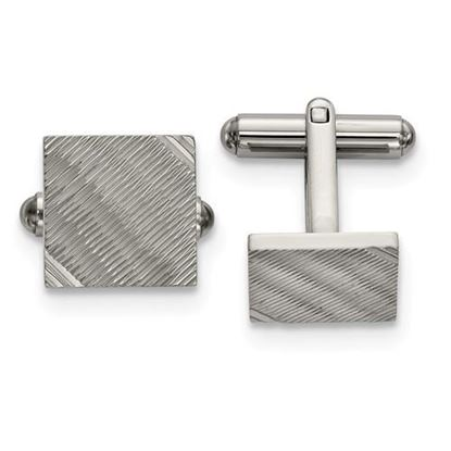 Picture of Stainless Steel Polished Textured Square Cufflinks