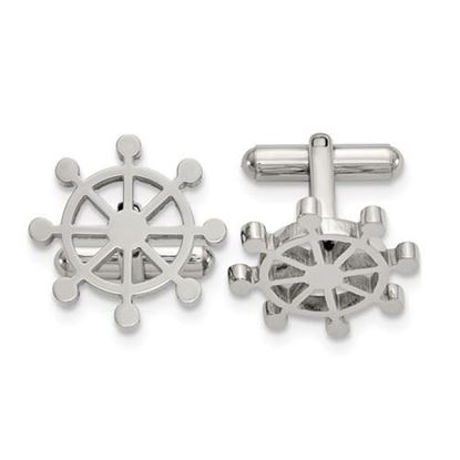 Picture of Stainless Steel Polished Ship's Wheel Cufflinks