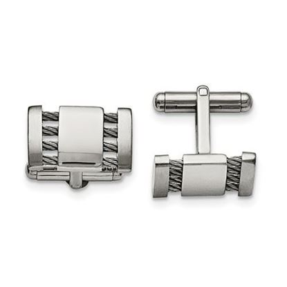 Picture of Stainless Steel Brushed Polished Wire Rectangular Cufflinks