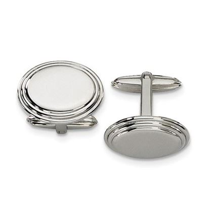Picture of Stainless Steel Polished Oval Ridged Cufflinks