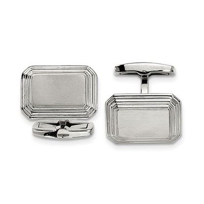 Picture of Stainless Steel Brushed Polished Rectangular Ridged Cufflinks