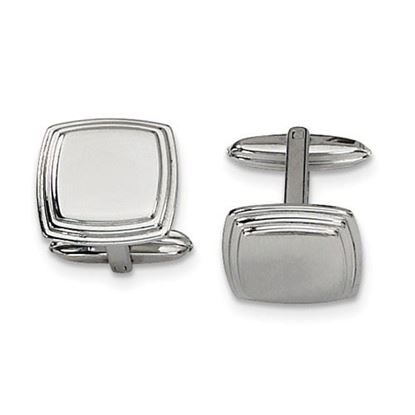 Picture of Stainless Steel Polished Ridged Cufflinks