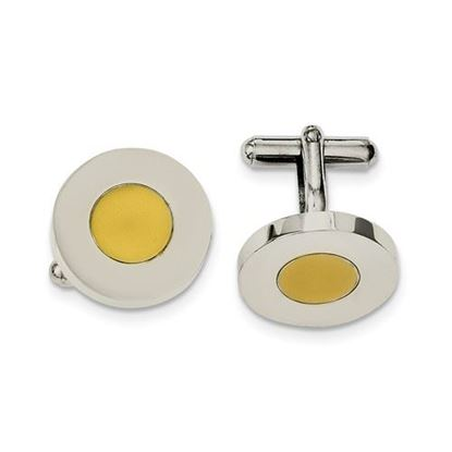 Picture of Stainless Steel Polished Yellow IP-plated Circle Cufflinks