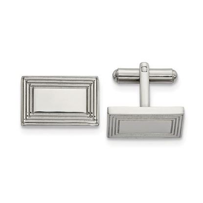 Picture of Stainless Steel Polished Rectangular Grooved Cufflinks