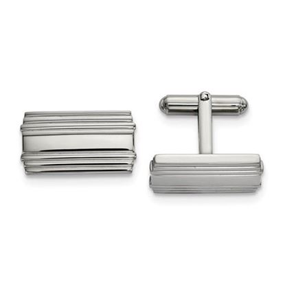 Picture of Stainless Steel Polished Ribbed Rectangle Cufflinks