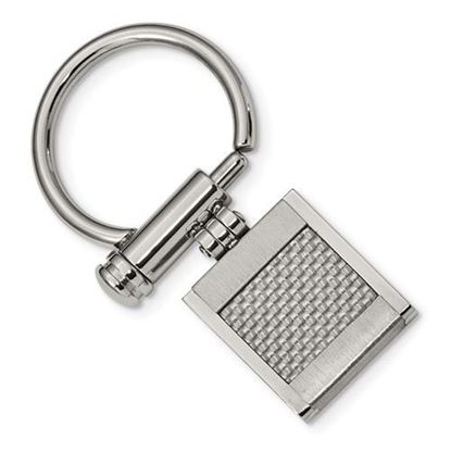 Picture of Stainless Steel Brushed Polished Grey Carbon Fiber Inlay Key Ring