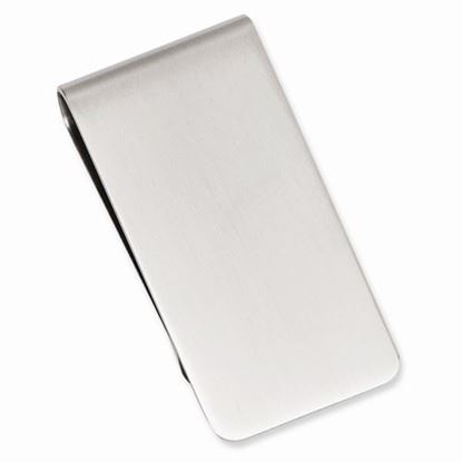 Picture of Rhodium-plated Brushed Polished Satin Rectangle Money Clip