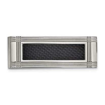 Picture of Stainless Steel Polished Carbon Fiber Inlay Money Clip