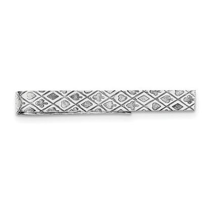 Picture of Sterling Silver Rhodium-plated Playing Cards 7mm Tie Bar