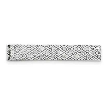 Picture of Sterling Silver Rhodium-plated Playing Cards 9mm Tie Bar