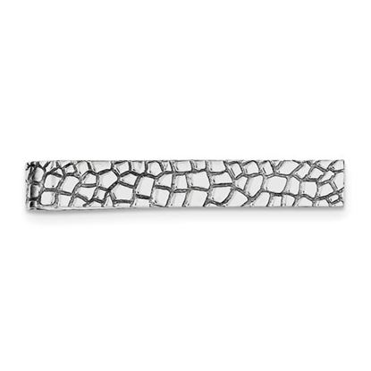 Picture of Sterling Silver Rhodium-plated Polished Reptile Design Tie Bar
