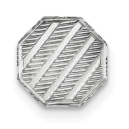 Picture of Sterling Silver Polished Textured Diagonal Designs Octagon Tie Tac
