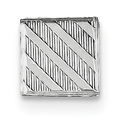 Picture of Sterling Silver Polished Textured Diagonal Designs Square Tie Tac