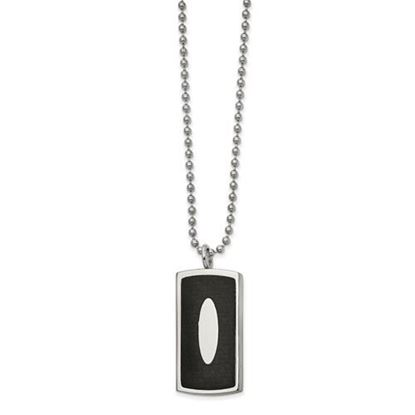 Picture of Stainless Steel Polished Black Leather Inlay Dog Tag 22 Inch Necklace