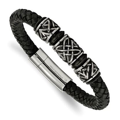 Picture of Stainless Steel Antiqued And IP Black Plated Bead 8.25 Inch Braided Leather Bracelet