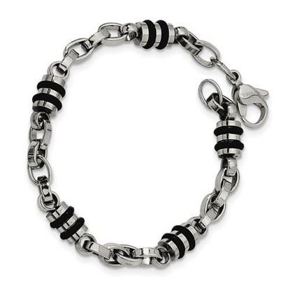 Picture of Stainless Steel Rubber Accent Barrel Link 8 Inch Bracelet