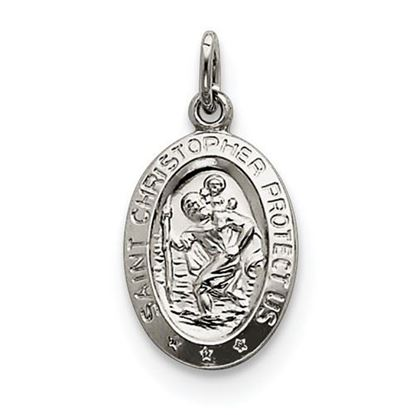 Picture of St. Christopher Medal Polished Sterling Silver Oval Pendant