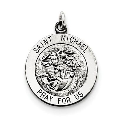 Picture of Saint Michael Medal Sterling Silver Antiqued Pendant