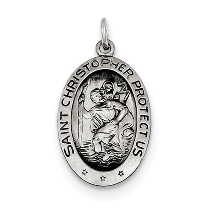 Picture of St. Christopher Medal Sterling Silver Solid Oval Pendant