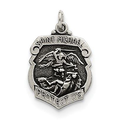Picture of St. Michael Badge Medal Sterling Silver Pendant