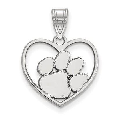 Picture of Clemson University Tigers Sterling Silver Heart Pendant