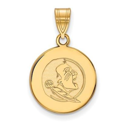 Picture of Florida State University Seminoles Sterling Silver Gold Plated Medium Disc Pendant