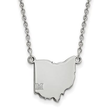 Picture of Miami University Redhawks Sterling Silver Ohio Necklace